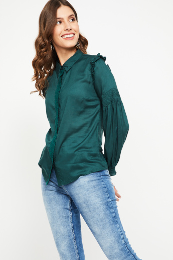 GINGER Solid Smocked Sleeves Ruffle Detail Shirt
