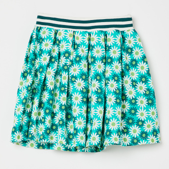 0914e07bd2 UNITED COLORS OF BENETTON Floral Print Pleated Skirt | Green