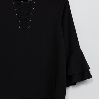 MAX Tiered Bell Sleeves Solid Criss-Cross Tie-up Top