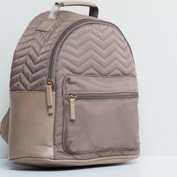 MAX Textured Backpack with Zip Closure