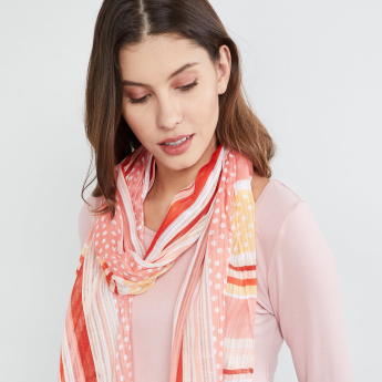 MAX Polka-Dot Print Striped Scarf