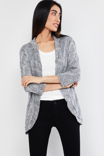 c696fdae79 MAX Patterned Knit Open-Front Shrug | Grey | Textured