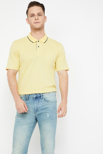 d30a695d86626 COLORPLUS Printed Polo T-shirt with Patch Pocket | Yellow