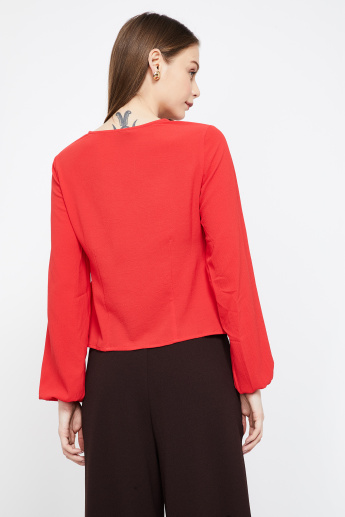 VERO MODA Bishop Sleeves Panelled V-neck Top