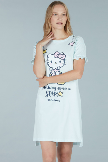 2437e80e9f0a Hello Kitty Printed Sleep Dress with Round Neck and Short Sleeves | Blue |  Printed