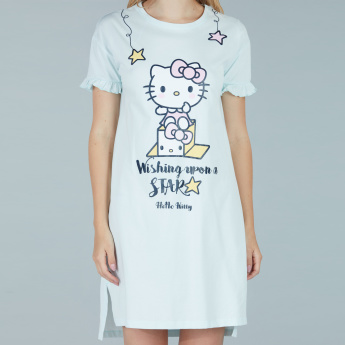 4ffecd92e742 Hello Kitty Printed Sleep Dress with Round Neck and Short Sleeves ...